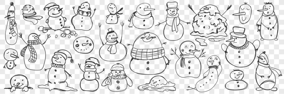 Snowman doodle set. Collection of funny hand drawn cute snowmen in scarves and accessories isolated on transparent background. Illustration of winter traditional entertainment and character for kids.
