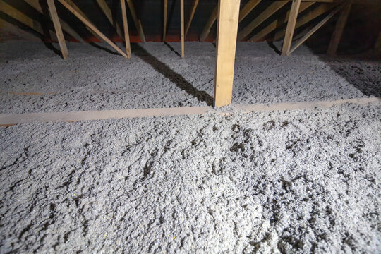 The attic has cellulose insulation. Made from recycled paper