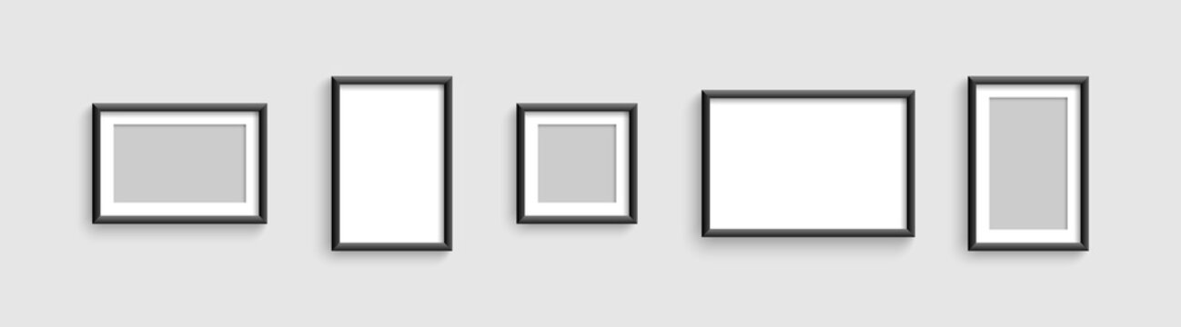 Photo frames. Vector template for picture. Collection Photo frames, isolated. Template mockup photo frame different shapes. Vector illustration