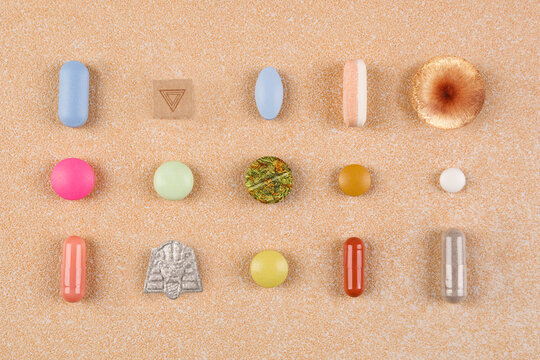 Medication collection. Various colorful drugs, pills and tablets.