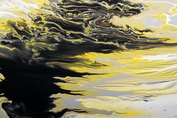 Trending colors of 2021. Gray, yellow and black waves flow. Marble effect background or texture. Fluid Art