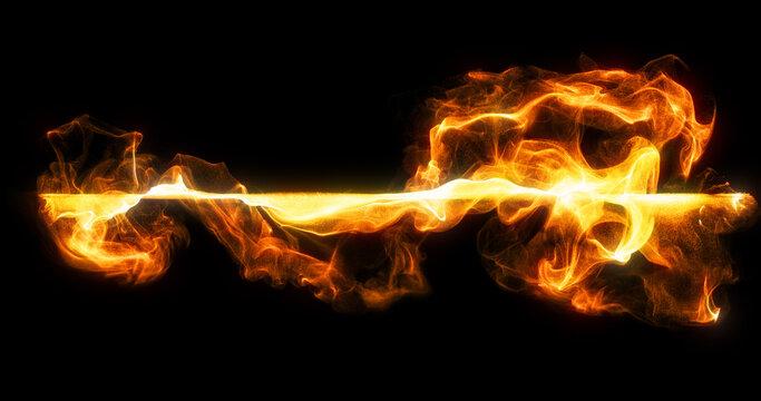 wisps, line of fire orange colored smoke billow and swirl