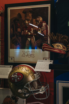New York, USA - May 28, 2018: 49ers NFL Memorabilia on display in NFL Experience in Times Square, New York, a first-of-its-kind live action attraction, combining interactive games and 4D theatre.