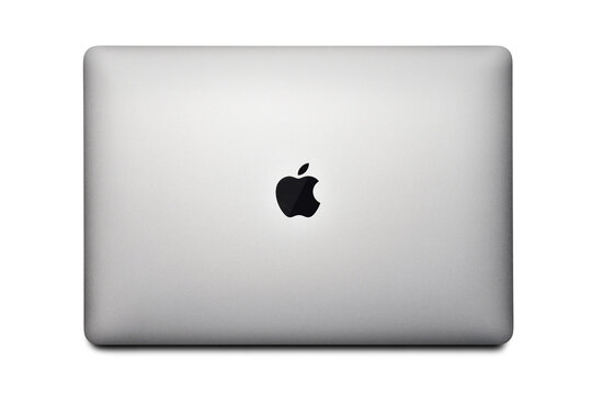 STARIY OSKOL, RUSSIA - DECEMBER 10, 2020: Macbook air with M1 chip 2020 on a white background top view