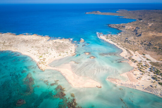 Elafonissi beach with pink sand on Crete, Greece