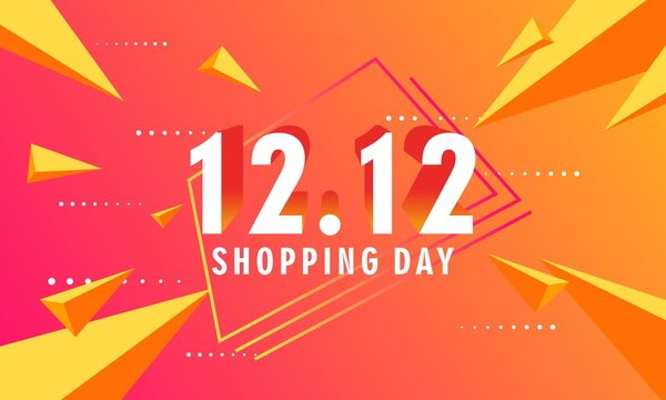 12.12 shopping day sale poster or flyer design. 12.12 background