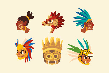 aztec warriors in feather headgear snake set icons