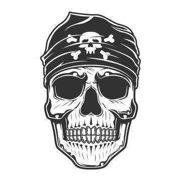 pirates skull with bandana on the head. vector illustration