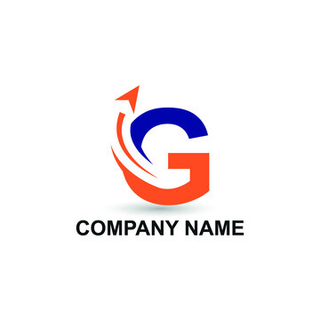 Initial G letter modern logo with arrow plane for logistic, travel, start up template brand