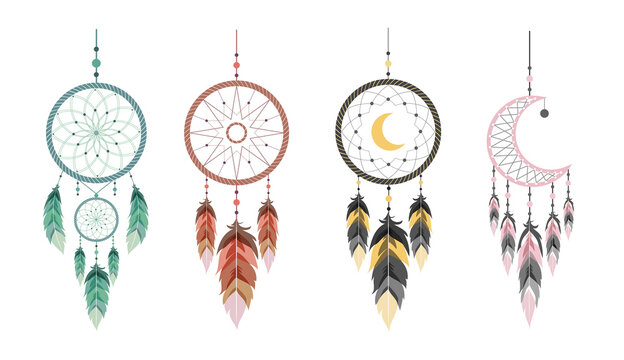 Dream catcher with moon and feathers. Set of hand drawn indian talisman. Ethnic bohemian design element. Vector hipster illustration isolated on white background. Flat boho style.