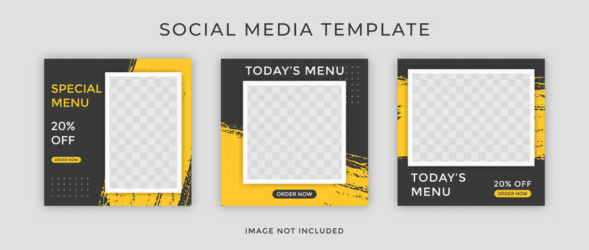 Template Post for Social Media AdSet of Editable square food banner template designs with brushstrokes. Suitable for Social Media Post restaurant and culinary digital Promotion.