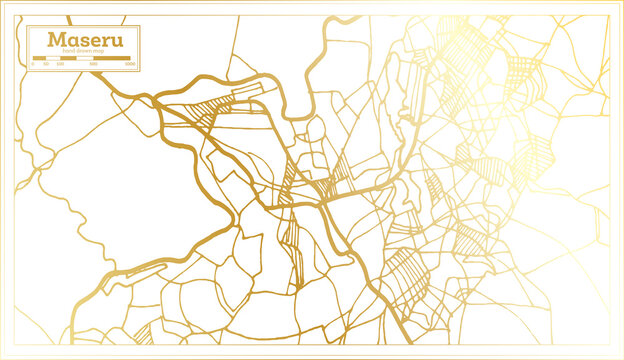 Maseru Lesotho City Map in Retro Style in Golden Color. Outline Map.