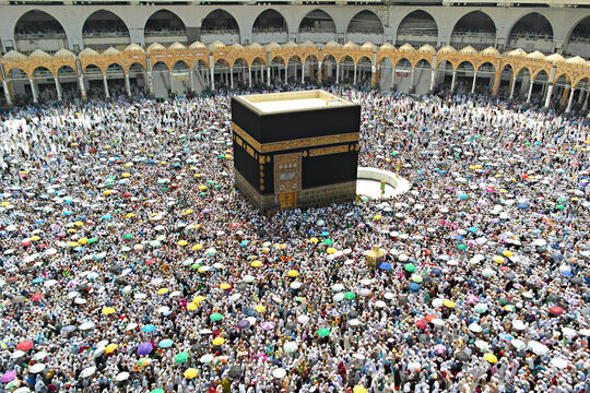 Muslim from all around the world doing tawaf (mataf) in Masjidil Haram, the holiest mosque in Mecca during hajj and umra.