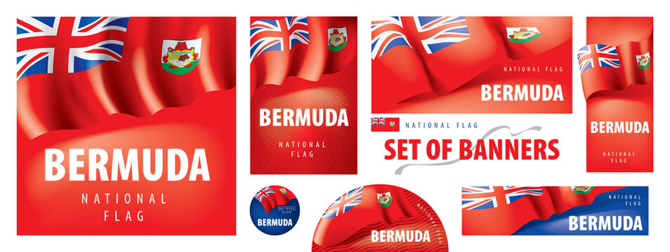 Vector set of banners with the national flag of the Bermuda