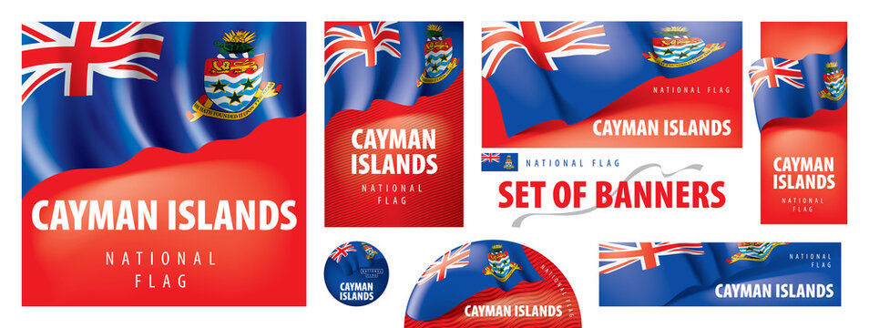Vector set of banners with the national flag of the Cayman Islands