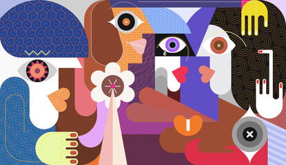Group of young women talking to each other. Abstract modern art graphic illustration.
