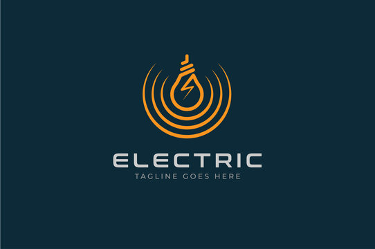 Electric Logo, light bulb icon isolated on black background, Flat style Logo Design Template element, vector illustration
