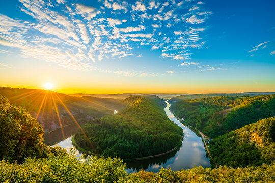 Saar river valley near Mettlach at sunrise. South Germany