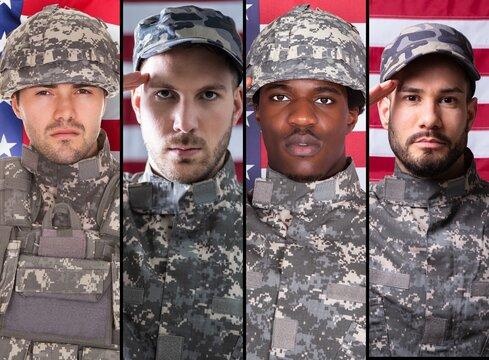 Soldier Veteran Military Person Headshot Portrait Collage