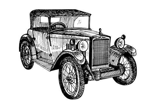 Hand drawn vector tracing vintage retro car, doodle sketch graphics monochrome illustration on white background