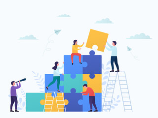 Coworkers connect puzzle pieces, teamwork. Business concept partnership, cooperation of businessmen and businesswomen, career growth, development and success. Wall mural