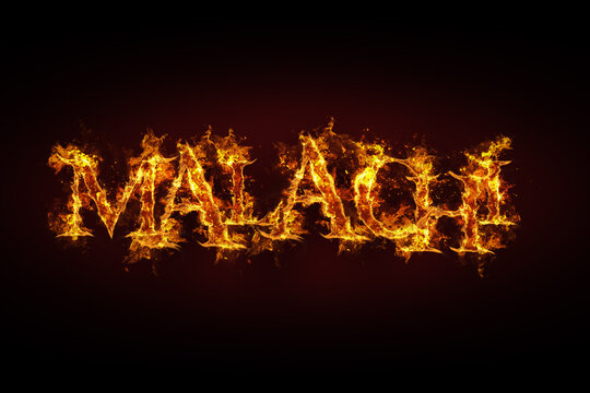 Malachi name made of fire and flames