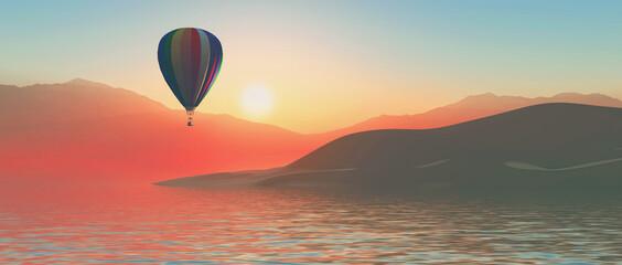 3D hot air balloon at sunset