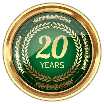 20 Years Experience. Vector Golden Badge.
