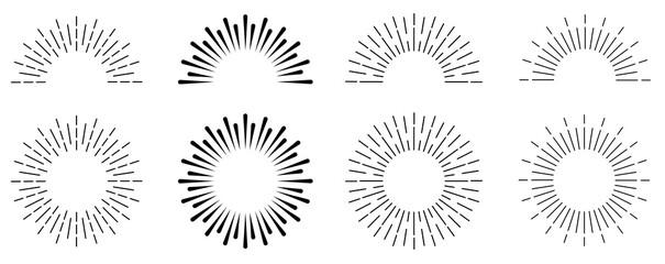 Fototapeta Sunburst set. Sunburst icon collection vector.Retro sunburst design.Big collection sunburst best quality. Burs.Sunrise rays light burst line shine sunshine sunbeam .Vector illustration.