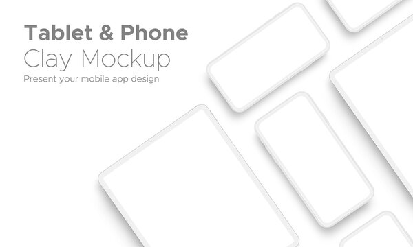 Mobile App Design Tablet Computer and Smartphone Clay Mockup With Space for Text Isolated on White Background. Vector Illustration