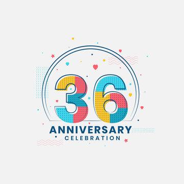 36 Anniversary celebration, Modern 36th Anniversary design