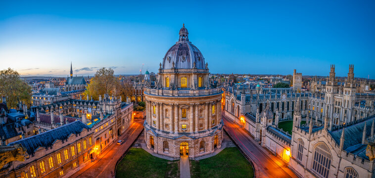 Radcliffe Camera library built in 1749 seen at night at Radcliffe Square. Oxford, England