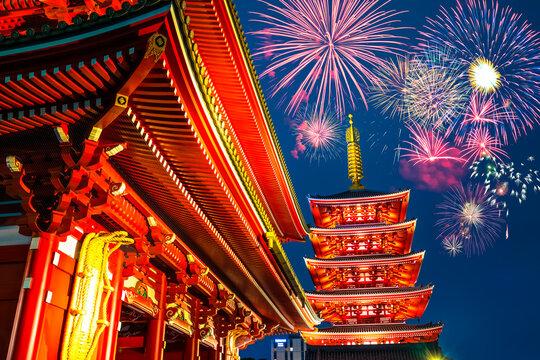 Fireworks near the Senso-ji temple of Asakusa in Tokyo. Japan