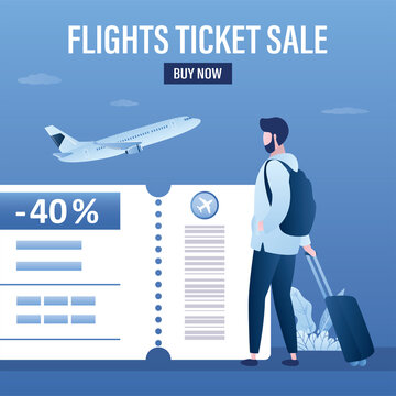 Flights ticket sale, landing page template. Male tourist with luggage, airplane takeoff. Part of boarding pass with big discount. Low fares.