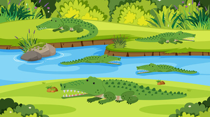 Background scene with crocodiles in the river