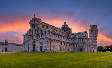 Wall Mural - Landscape with Cathedral and the Leaning Tower of Pisa at sunset, Tuscany, Italy