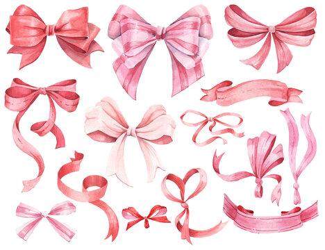 hand-drawn watercolor bows and ribbons. Colored decorative bows for cards, invitations, scrapbooking, decor