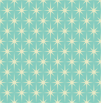 Mid-century modern wrapping paper with starburst pattern with off-white stars on light blue background