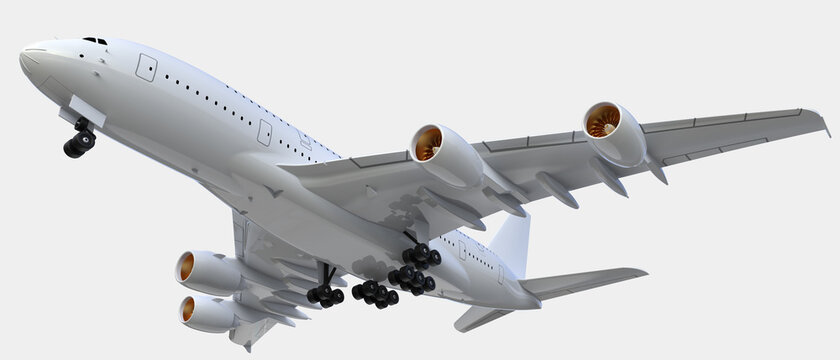 Flying airplane isolated on grey background. 3d rendering - illustration