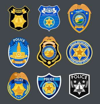 Police badges set vector. Sheriff, marshal label illustrations. Law enforcement emblems for national days. Ranger, policeman medallions.