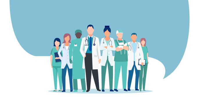 Vector of a medical staff, group of doctors and nurses