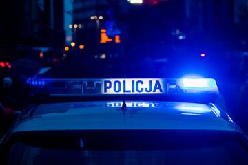 Obraz Policja - lampa sygnalizacyjno-ostrzegawcza, radiowóz policyjny, samochód policyjny - fototapety do salonu