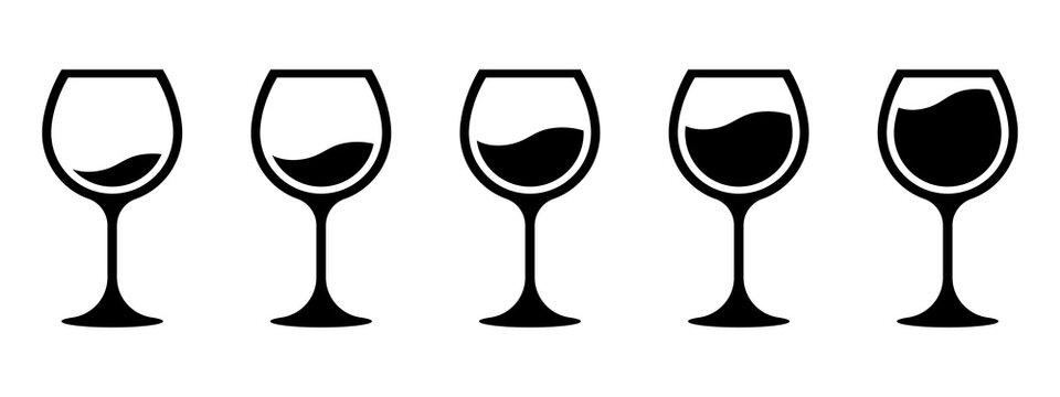 Wine quantity. Different wine quantity in glasses. Different shapes of wine glasses. Full and empty glasses. Glasses collection. Alcocol symbol. Drinking alcohol concept. Vector graphic.