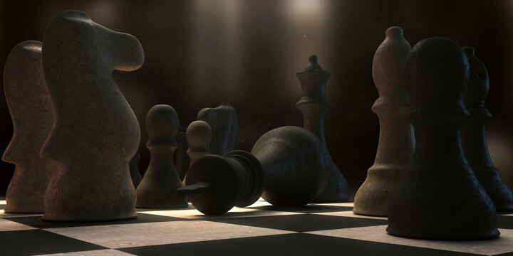 3d illustration highlighting a checkmate move in the game of chess.