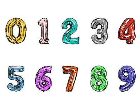 Colorful cartoon set of numbers 0 to 9(choose any color You like with/with out highlights). Postcard, poster. Isolated on white background . Vector illustration. Eps 10