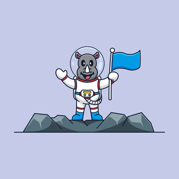Rhino astronaut cartoon mascot logo