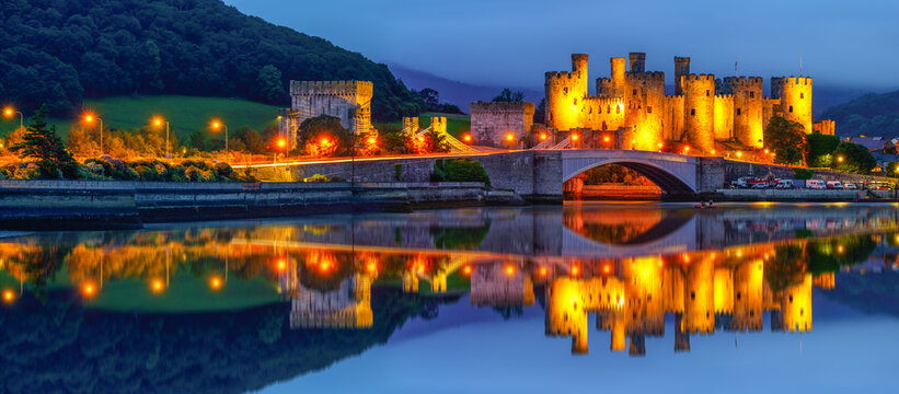 Panorama of Conwy Castle located in Conwy. North Wales, UK