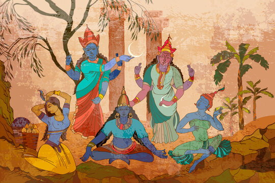 Gods of India. Mythology, tradition and history. Multiple goddesses in the sacred temple of the jungle. Ancient frescoes. Ramayana. Traditional indian mural paintings style. Old Asian culture art