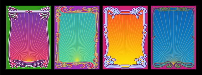 Fototapeta Psychedelic Color Art Nouveau Frame Set, Retro Decorative Borders, Colorful Backgrounds  obraz