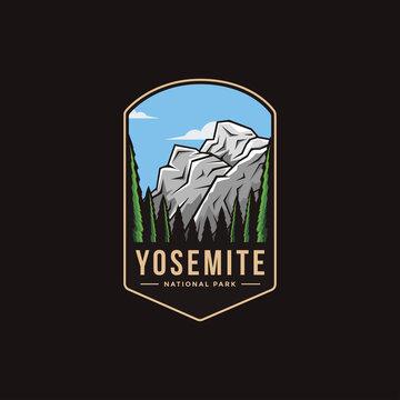 Emblem patch logo illustration of Yosemite National Park on dark background